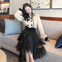 套装女春季2019韩版复古撞色长袖短款上衣高腰网纱蛋糕裙两件套潮