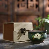 唐丰玉兰花紫砂杯家用复古个人单杯功夫主人杯饮茶杯礼盒装