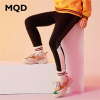 MQD童装加厚女童打底裤2019冬季新款加绒字母拼接保暖儿童运动裤