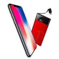 充电宝 2018新款自带线10000毫安便携适用苹果安卓专用手机聚合物充电宝 大容量10000毫安聚合物电芯
