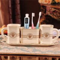 欧式情侣陶瓷卫浴五件套浴室用品卫生间刷牙杯漱口杯牙具洗漱套装