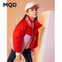 MQD童装女童羽绒服2019冬季新款立领一手长羽绒服90绒儿童面包服