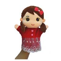 腹语动物手偶玩具娃娃嘴巴能动亲子游戏讲故事手指套玩偶可张嘴 荧光黄 手偶--女孩红