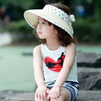 儿童太阳帽薄款草帽女沙滩帽宝宝空顶帽夏季亲子帽子母子遮阳帽