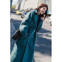 胖mm冬季雾霾蓝毛呢外套女中长款韩版大码女装新款宽松大衣厚