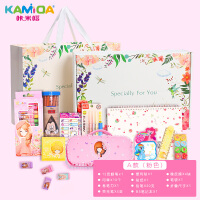 花花姑娘笔袋韩国文具盒简约女生小学生小清新可爱公主儿童铅笔盒 蕾丝边笔袋礼盒 粉色