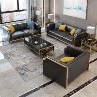 【热卖新品】港式后现代轻奢真皮沙发组合简约美式客厅成套样板间设计师家具 组合