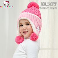 HelloKitty凯蒂猫儿童秋冬季加绒针织帽女童中小童凯蒂猫可爱球球遮耳帽KT01B13019