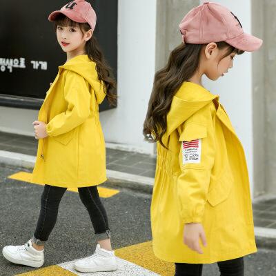 女童风衣外套休闲新款春秋装中大童女孩12洋气韩版13儿童15岁   批量拍下不发货