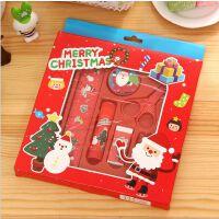开学必备文具 创意文具圣诞礼物 韩国版文具套装 礼盒 创意儿童可爱文具新年礼品 学生奖品 学生铅笔尺子卷笔刀套装 可爱