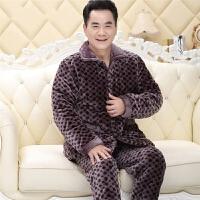 冬季法兰绒睡衣男士夹棉三层加厚保暖中老年人爸爸棉袄加绒家居服