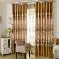 窗帘成品简约现代客厅卧室隔热窗帘布料批发遮光布定制 褐色 金玉满堂浅咖色