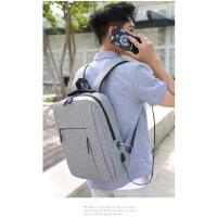 男士双肩包USB接口户外耳机旅行电脑包休闲商务通用包