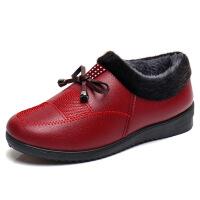 冬季新款妈妈鞋棉鞋中老年人女鞋加绒保暖老鞋平底奶奶鞋