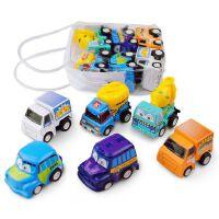 车模型 新年礼物 儿童玩具车 迷你回力车仿真模型塑料惯性 小汽车宝宝礼物6辆