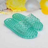 限时特价浴室拖鞋女夏季室外穿凉拖洗澡防滑防臭平底果冻水晶透明塑料拖鞋