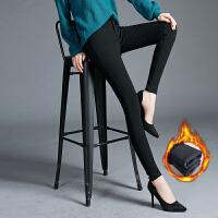 黑色加绒牛仔裤女2018新款韩版显瘦加厚保暖高腰冬季小脚高弹长裤 黑色加绒