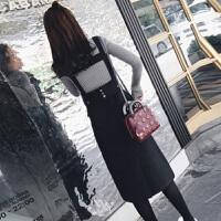 秋季高领毛衣两件套背带连衣裙2018新款原宿风中长款裙子套装 灰色+黑色裙 【两件套】 S 85-95