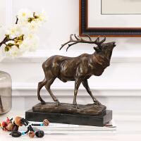 欧式复古全铜动物摆件 美式奢华创意麋鹿摆件会所样板房书房办公桌装饰纯铜工艺品