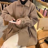 秋冬2018新款森系女装韩版学生百搭显瘦毛呢外套短款宽松呢子大衣 均码
