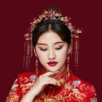 新娘头饰中式凤冠秀禾发饰大气金色古装婚礼造型结婚礼服饰品 喜红款