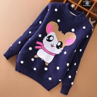 女童毛衣针织衫中大童保暖套头打底衫女孩子棉线衣秋冬款