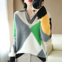 2021年秋冬新款羊毛衫女士POLO领格子拼接长袖韩式宽松针织羊绒衫