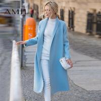 AMII[极简主义]冬装新款羊毛开衫毛呢外套大衣女长款11672308