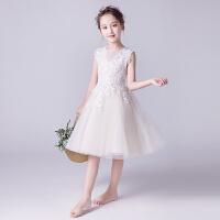 女童蓬蓬纱裙花童婚纱钢琴表演服小女孩洋气夏季儿童晚礼服公主裙