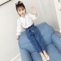 2019新款韩版儿童春装女孩洋气衬衫牛仔裤童装女童套装