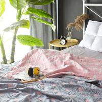 毛巾被纯棉双人毯子夏季单人薄儿童午睡夏凉被纱布毛巾毯盖毯单人定制 玫红色 心约灰粉(四层)