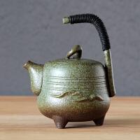 【新品】粗陶陶瓷大号日式复古紫砂侧把茶壶手抓壶茶具手工功夫套装配件