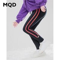 MQD童装女童打底裤外穿2019秋装新款儿童运动条纹弹力百搭运动裤