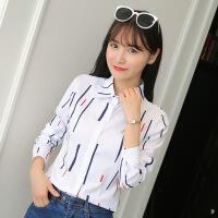 白色衬衫女长袖春秋装新款韩版打底衫女衬衣秋季小清新印花上衣