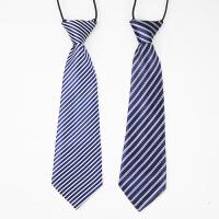 男孩斜纹藏青红色拼接色条纹小领带男童领带儿童节目表演配件