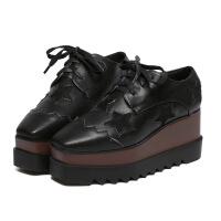 秋冬季松糕鞋女厚底方头系带坡跟英伦风浅口高跟内增高休闲鞋单鞋