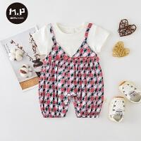 夏季婴儿外出哈衣婴儿短袖爬服女宝宝夏装薄款假两件套装