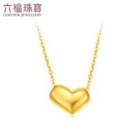 六福珠宝心形相思豆锁骨链18K金项链套链吊坠女定价L18TBKN0038YA