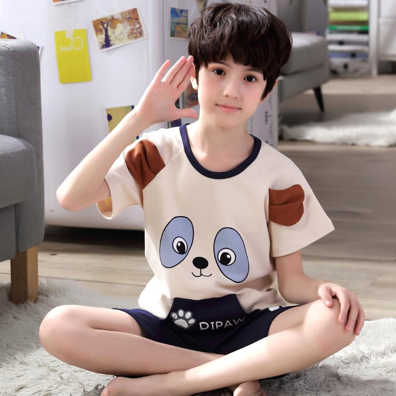 12-15岁男童中大童家居服套装夏季儿童男孩短袖薄款睡衣套装
