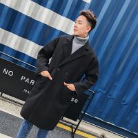 男士情侣装毛呢大衣中长款风衣秋季呢子外套韩版潮流2018新款冬季