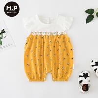 夏季新款婴儿衣服薄款女宝宝夏装短袖满月外出衣服哈衣