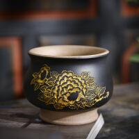 唐丰描金紫砂建盏单个家用品茗杯仿古主人杯个人杯喝茶杯