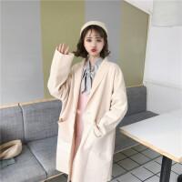 秋冬女装韩版宽松中长款宽松长袖毛呢外套BF风薄款呢子大衣风衣潮 均码