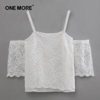 【2件3折】ONE MORE吊带女露肩蕾丝雪纺衫半袖女蕾丝短袖性感上衣