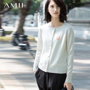 AMII[极简主义]冬新品大码圆领印花毛衣女11572235