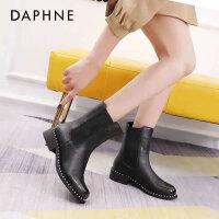 达芙妮真皮马丁靴2020秋季新款英伦风中筒瘦瘦靴平底切尔西短靴女