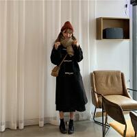 秋冬韩版中长款圣诞红牛角扣连帽毛呢外套宽松赫本加厚呢子大衣女 均码