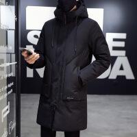冬季男士羽绒服中长款韩版外套帅气加厚白鸭绒羽绒衣服新款潮