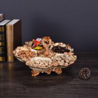 简约欧式奢华干果盘树脂创意五格糖果盘美式家居水果盘茶几摆件装饰品 浅黄色 五格干果盘
