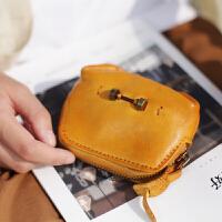 可爱软萌钥匙包卡包复古文艺手工牛皮零钱包